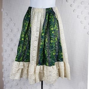 70's Vintage Green & Blue Brocade W/ Lace Skirt